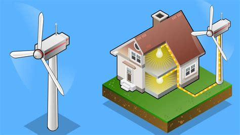 Animation Of A Isometric House With Wind Turbine In