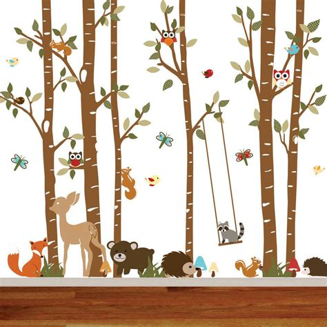 Birch Tree Deer Wall Decal with Forest by wallartdesign on