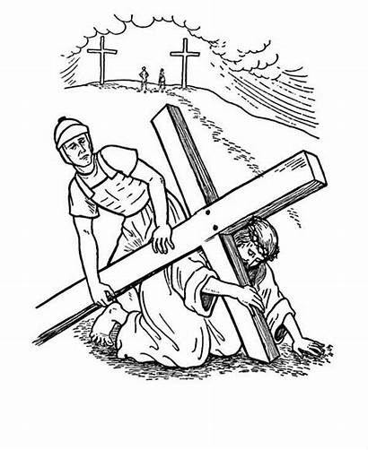 Coloring Friday Jesus Pages Cross Carrying Drawing