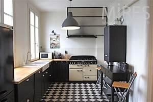 Cuisine Noir Et Blanc : cuisine noire et damier blanc c1114 mires paris ~ Melissatoandfro.com Idées de Décoration