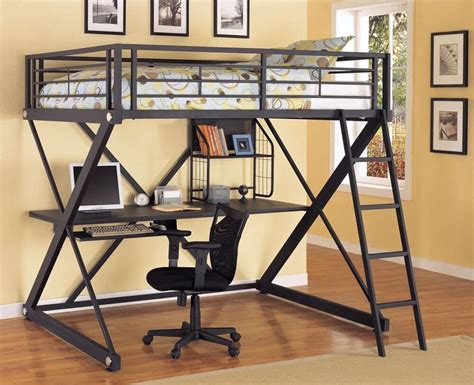Metal Bunk Bed With Desk by Loft Bed With Desk Black Ebay