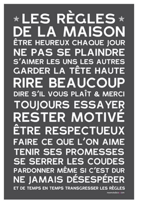regles de la maison les r 232 gles de la maison home poster affiche sticker