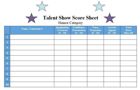 sample talent show score sheet templates samples