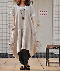 women39s retro plus size dress pullover pleated long linen With robe pull boheme
