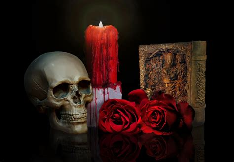 skull roses candle book hd wallpaper