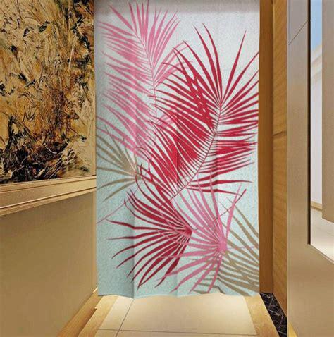 japanese noren date palm tree leaf doorway curtain