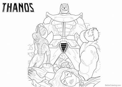 Thanos Coloring Marvel Pages Characters Printable Adults