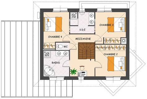 chambre en l plan maison 4 chambres en l