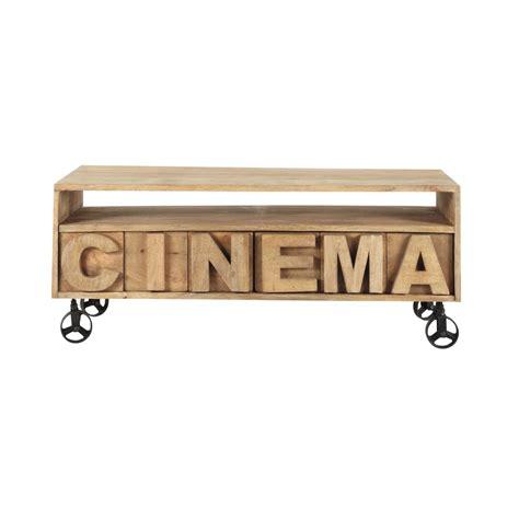 bureaux bois massif meuble tv à roulettes en manguier massif l 120 cm alphabet