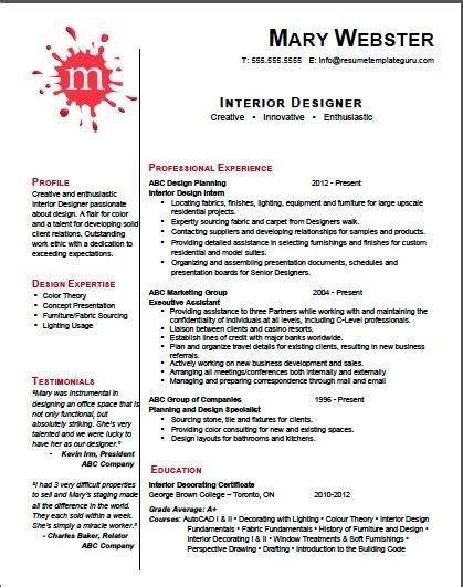 design resume interior design resume template best letter sle Interior