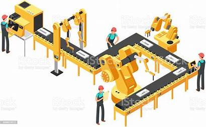 Production Line Factory Conveyor Automated Vector Robotic