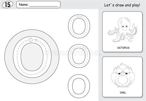 cartoon octopus  owl alphabet tracing worksheet