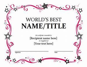 Award Certificate Template - Format Example