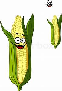 Cheerful smiling cartoon corn vegetable on the cob with a ...