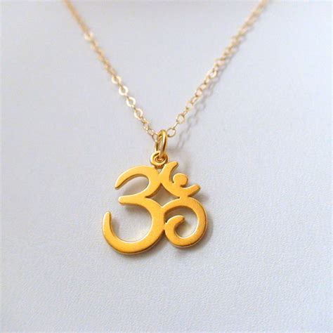 ohm necklace  gold plated sterling silver