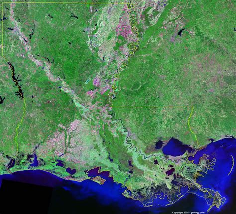 Images Of Louisiana Louisiana Satellite Images Landsat Color Image