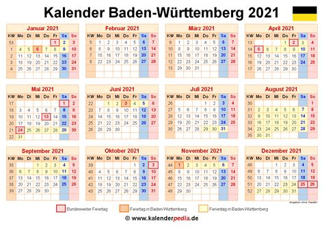Diese vorlage zeigt dir in einem kalender alle feiertage für ein beliebiges jahr und bundesland an. Kalender 2021 Baden-Württemberg: Ferien, Feiertage, PDF-Vorlagen