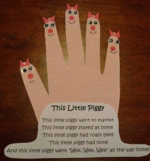 this piggy nursery rhyme craft should be a foot and