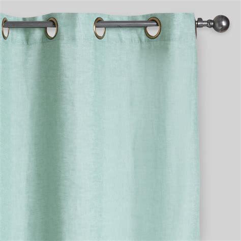 dusty aqua linen grommet top curtains set of 2 world market
