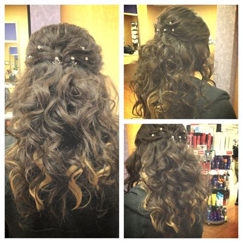 prom hairstyle i did at work today half up half down with