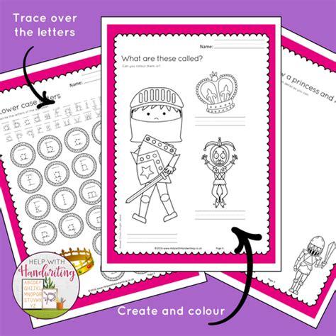 printed handwriting princess themed alphabet worksheets