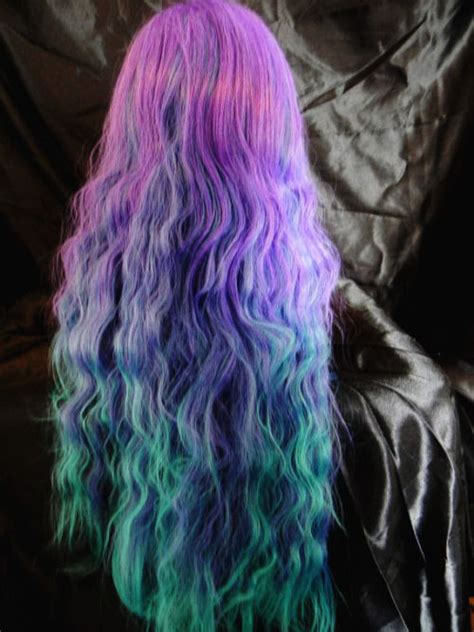 Long Green Purple And Blue Ombre Hair Pictures Photos