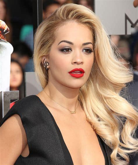 Rita Ora Formal Long Wavy Hairstyle Light Blonde Hair Color