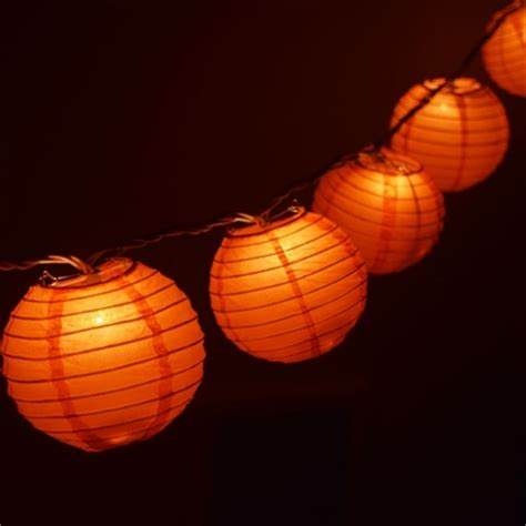 10 socket orange paper lantern string lights