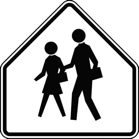 school advance warning black  white clipart