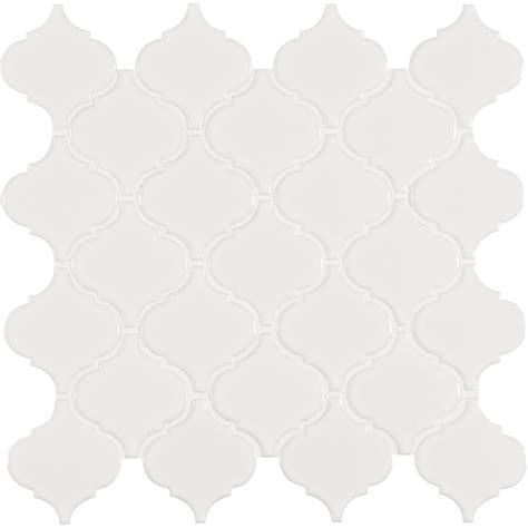 arabesque white tile ms international white glossy arabesque 11 in x 11 in x 6 mm porcelain mesh mounted mosaic