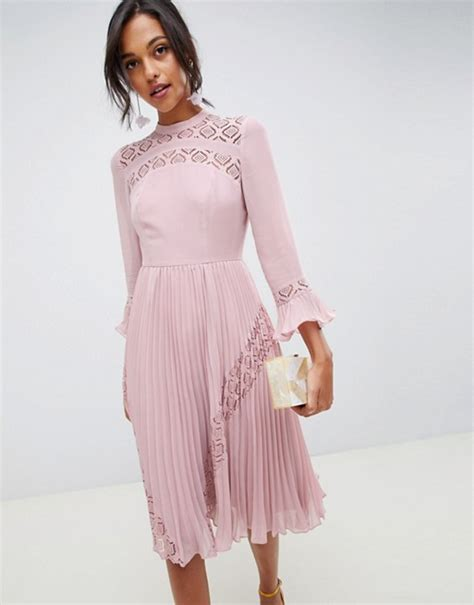 Asos Design Lace Insert Pleated Midi Skater Dress With