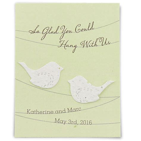 seed paper love birds personalised favour card confetti
