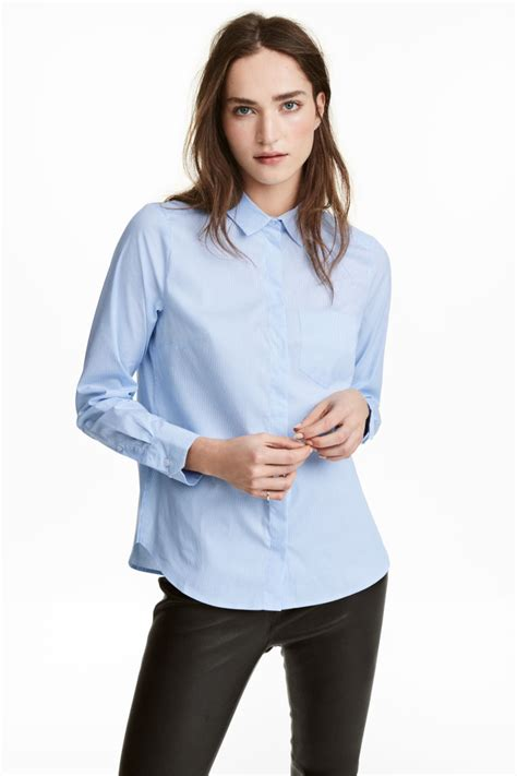 light blue blouse womens fitted shirt light blue striped women h m us