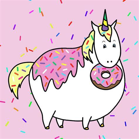chubby unicorn eating sprinkle doughnut painting  crista