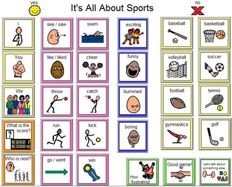 sports  pe communication board aac topic based