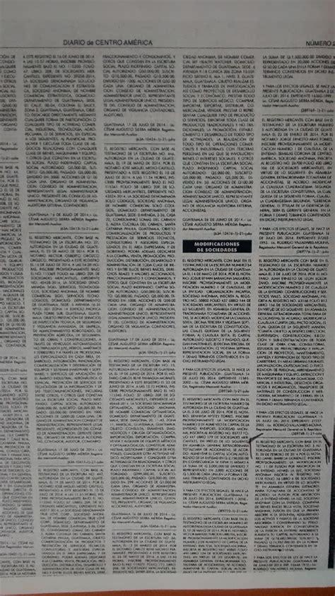 publicacion en el diario oficial del edicto de inscripcion provisional de fusion