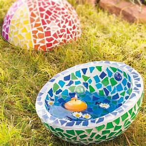 Mosaik Basteln Mit Kindern : gartendeko aus mosaiksteinen mit schwimmkerze mosaik ~ Lizthompson.info Haus und Dekorationen