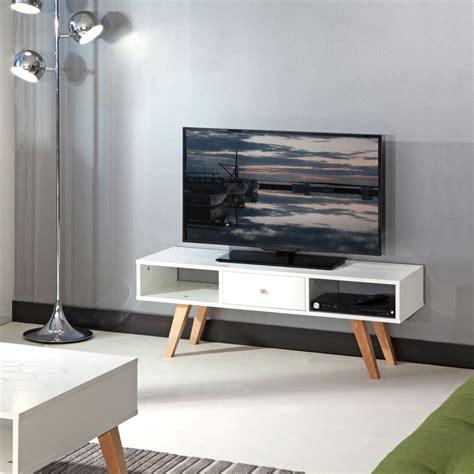 table bout de canapé design meuble tv pieds inclinés 1 tiroir blanc hêtre
