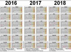 Dreijahreskalender 201620172018 als PDFVorlagen zum