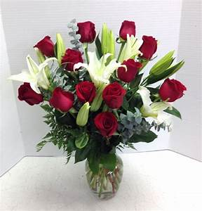 Dozen Red Roses and Lilies