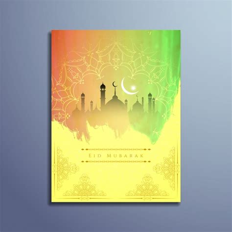 islam colors islamic eid mubarak design with bright colors vector