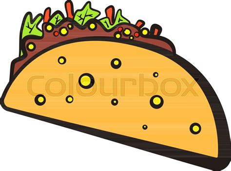 Cartoon Colorful Mexican Taco With Black Outline Symbol
