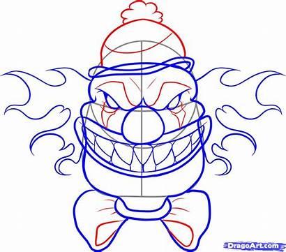 Scary Clown Draw Step Face Cartoon Joker