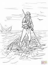 Robinson Crusoe Raft Coloring Shipwrecked Drawing Printable Swiss Cartoon Sketch sketch template