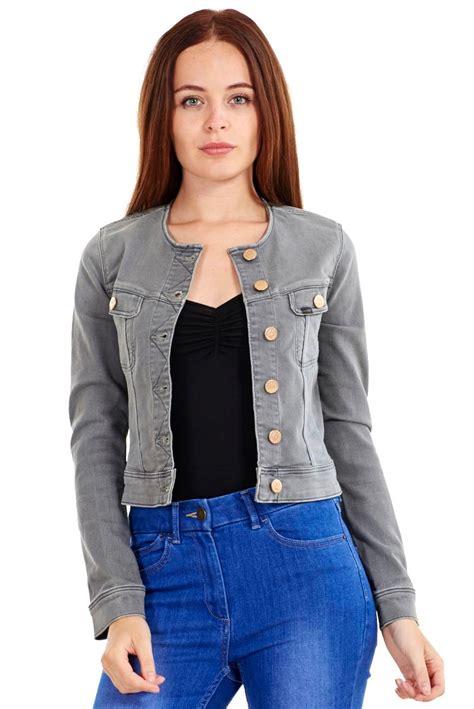jeansjacke ohne ärmel damen jeansjacke ohne kragen lange 196 rmel l 228 ssiger schnitt grau ebay