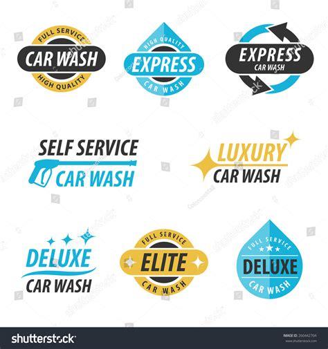 car wash service vector set car wash logotypes express stock vector