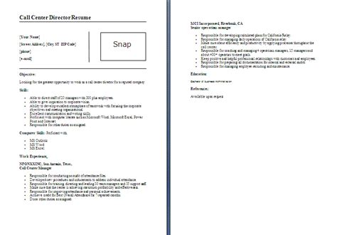 call center director resume template formsword word