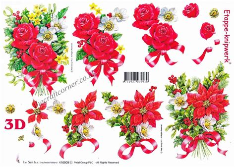 christmas flower bouquets  ribbon designs  decoupage