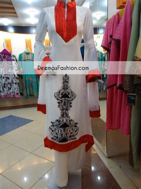 red white  black casual wear dress latest designer