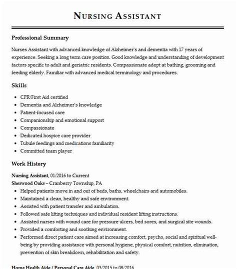 Personal Care Aide Resume by Resident Care Aide Objectives Resume Objective Livecareer